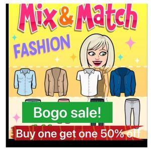 BOGO!!!buy one get one 1/2 off